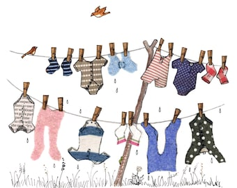 BABY GROS :  charming printed card, , perfect to send to new parents  .A colourful washing line full of baby related washing.