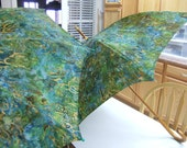 """Umbrella, Hand Made, Personalized, Unique, One of a Kind, Mother Daughter Umbrella's 48"""" and 22"""", respectively, Batik Fabric"""