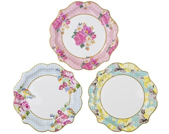 24 medium Pretty paper plates- Charm, Christmas or New years eve party