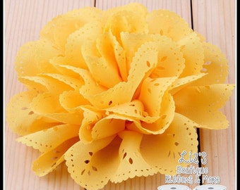 "4"" YELLOW eyelet flowers, 2 piece"