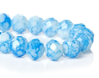20 Light Blue Rondelles Tie Dye Loose Beads 10mm Large Spacer Bead 3789