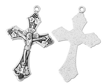 Large Silver Cross Charms Christ Pendants Baptism Confirmation Gift Grapevines Leaves 2/4/10 4290