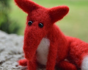 Little Needle Felt Fox, Miniature, OOAK, fox, woodland, animal, forest, critter, Christmas, xmas, miniature dolls, soft sculpture, gift