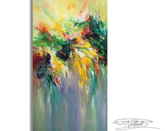 "Large Abstract Painting 63.0 "" x 34.2"" Original XL Acrylic Green, Yellow, Black, White, Anthracite, Red."