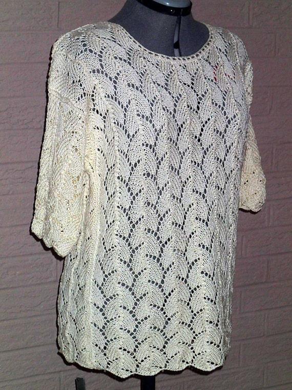 Knitting Summer Tunic : Lace knit cotton tunic size l crochet summer by