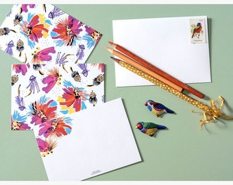 Feather Floral Card Set