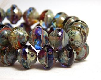15 Purple Rustic Beads, 10mm Saucer Beads, Saucer Shaped Beads, Purple Beads, Rustic Beads,  Chunky Beads, Saturn Beads, Boho Beads, T-87D
