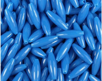200 True Blue Neon Bright 19x6mm Spaghetti Craft Beads - Made in the USA