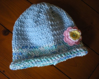 Blue Knit Baby Hat, Infant Girl's Hat, Handknit Baby Hat