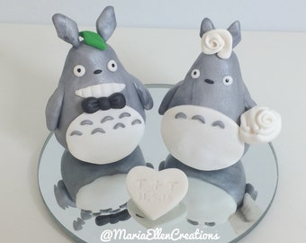 My Neighbor Totoro wedding cake topper - Polymer clay cake topper - Custom couple cake topper, wedding cake topper, MADE TO ORDER!