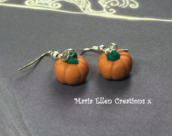 Halloween pumpkin polymer clay hook Earrings