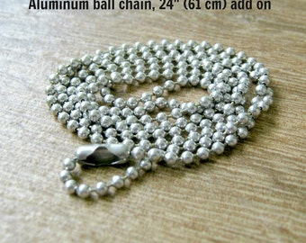 Aluminum Ball Chain Add On, 24 inches, 61 centimeters, 2 mm ball