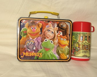 vintage 1979 thermos king-seley jim hensons the muppets metal lunchbox and thermos