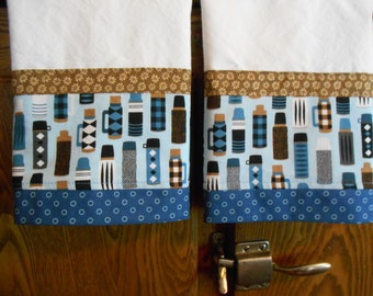 Set of 2 Fabric Trimmed Kitchen/Guest Towels with Vintage Thermos Collection Print