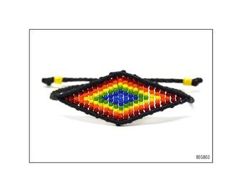Macrame Eye Bracelet - Rainbow -big / BEGB03