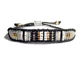 Black and silver band bracelet