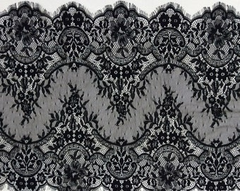 Chantilly Lace Fabric-45cm, Black Eyelash Lace Trim, Wedding Table Decor, Black Floral lace shawl -6544