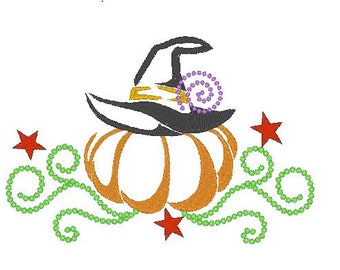 Halloween Embroidery Design, Pumpkin Embroidery, Witch Hat Embroidery Design, Machine Embroidery