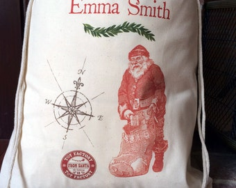 1 Santa Sack - Christmas Bag - Large Drawstring Canvas - Personalized Name - Santa Compass Design - 17x20 - Made in the USA