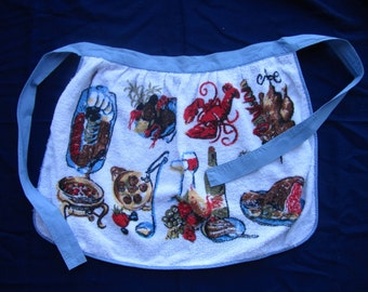 Adorable 1950s printed towelling material hostess apron