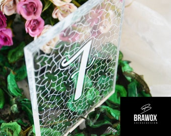 Wedding table number, plexi engrave table numbers, diy wedding table decoration