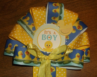 It's A Boy mommy to be corsage and daddy's tie Duck Baby shower corsage yellow and Blue
