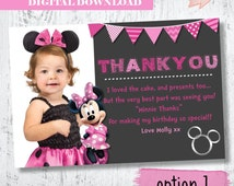 Minnie Mouse Photo Thank You.Minnie Mouse Birthday Thank You.Minnie Mouse Photo Card. Pink Minnie Mouse ThankYou. Minnie Photo Printables.