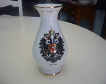 Vintage Austrian Vase, Austrian Souvenir with Code of Arms in the front, Hassenpflug.