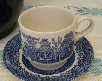 Six (6) Vintage Blue Willow Tea Cups with Saucers, Churchill, England.