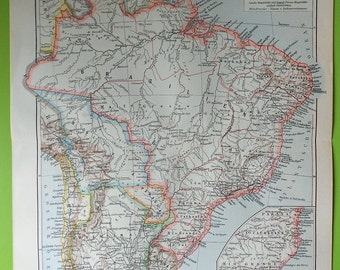 1897 BRAZIL VINTAGE map. 118 years old chart.