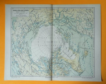 1890 GENUINE NORTH POLE map. Exploration collection. 125 years old chart.
