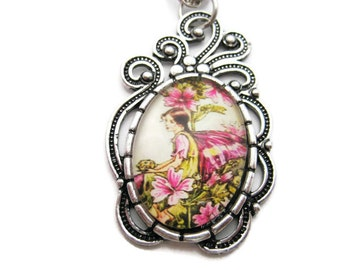 Mallow Flower Fairy Necklace Mallow Flower Necklace Fairy Jewelry Mallow Necklace Mallow Flower Fairy Jewelry Mallow Jewelry Gifts Under 20