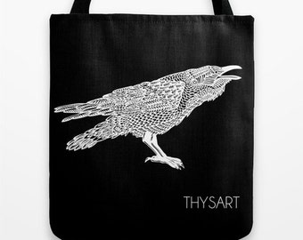 Raven tote, cotton bag by THYSART