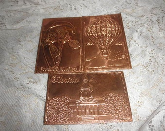 Postcards Kopper Kard Engraving on Copper ( Florida, Hot Air Balloon and Flower)