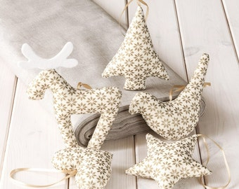 Christmas Decorations, ecru Christmas Ornaments in golden stars pattern