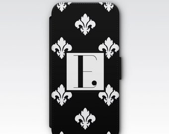 Wallet Case for iPhone 8 Plus, iPhone 8, iPhone 7 Plus, iPhone 7, iPhone 6, iPhone 6s, iPhone 5/5s - Monogrammed Case, Fleur De Lys Case
