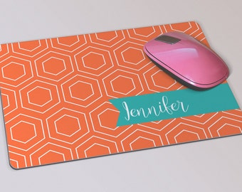Fabric Mousepad, Mousemat, 5mm Black Rubber Base, 19 x 23 cm - Orange Geometric Pattern Customised Mousepad Mousemat