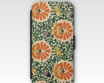Wallet Case for iPhone 8 Plus, iPhone 8, iPhone 7 Plus, iPhone 7, iPhone 6, iPhone 6s, iPhone 5/5s -  Antique Chinese Floral Pattern Case