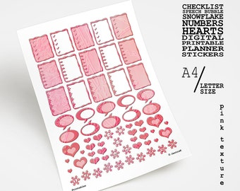 Pink textured daily planner sticker set for Valentine's day Printable sticker variety sheet Checklist hearts number collage Digital download