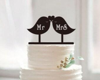 Mr. & Mrs. Love Bird Wedding Cake Topper