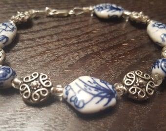 White & Blue Ceramic Beaded Bracelet w/ Silver Accents