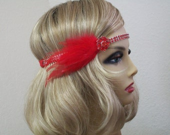 Red Flapper headpiece, Great Gatsby headband, 1920s headband, 1920s dress, Feather headband, 1920s accessories, Roaring 20s dress, Jazz Age