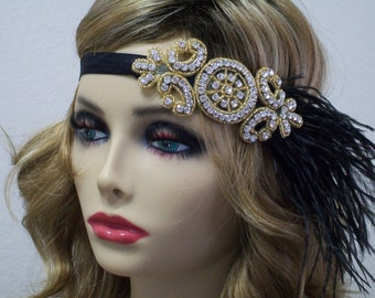 Black Gold 1920s headpiece, Flapper headband, Gatsby headpiece, Feather headband, Downton Abbey, Rhinestone Art Deco, 1920s hair accessory