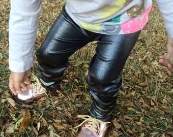 Baby girl foil metalic pewter leggings// made to order