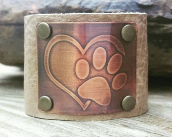 Leather Cuff Bracelet with Copper Etched Paw Print with Heart Design- Custom Hand Made Cuff