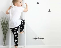 miley & moss cross black print organic baby boy leggings baby girl harem trousers pants unisex