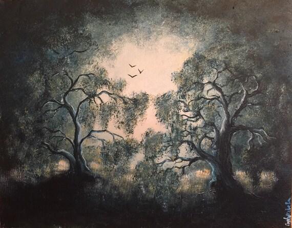 "ORIGINAL ART: ""Deep Forest Moon"" 11""x14"" Acrylic on Canvas Board (Framed)"