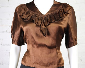 1930s Brown Silk Blouse satin ruffle tie waist top shirt S M