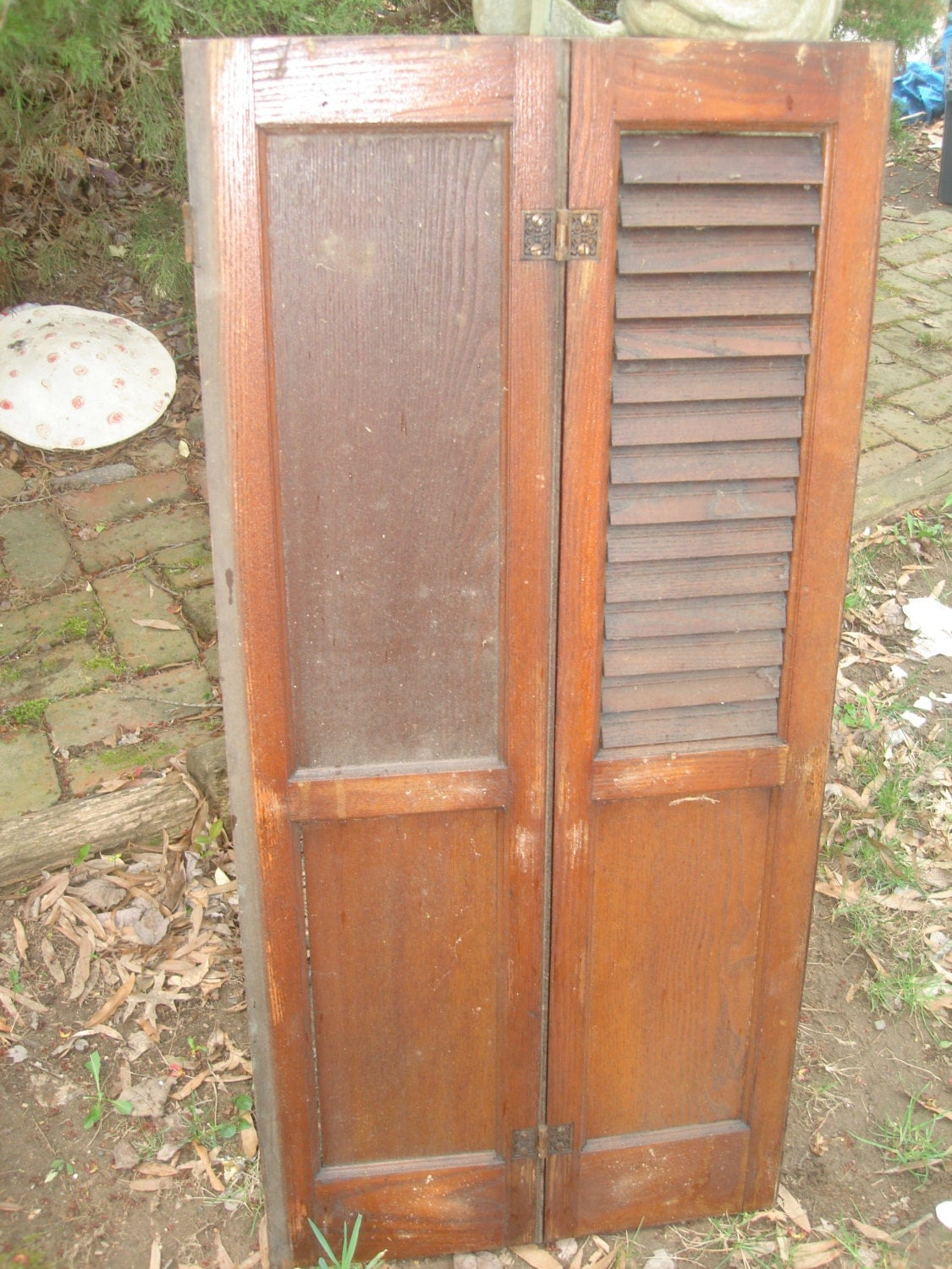 Sale Antique Shutter Old Louvered Wood Shutter