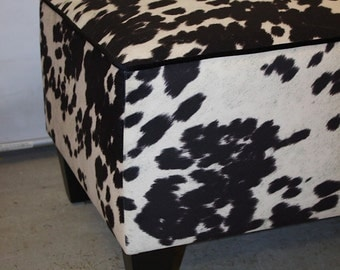 Cowhide ottoman , faux cowhide warwick cowgrain fabric ,            bench seat ,  coffee table
